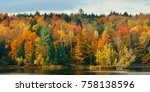 lake with autumn foliage and... | Shutterstock . vector #758138596