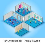 fitness training big set with... | Shutterstock .eps vector #758146255