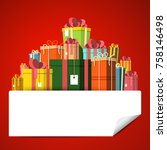 gift box pile on red background.... | Shutterstock .eps vector #758146498