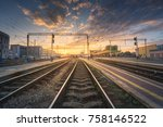 railway station against... | Shutterstock . vector #758146522