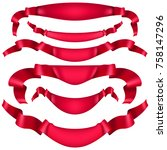 realistic red decorative ribbon ... | Shutterstock .eps vector #758147296