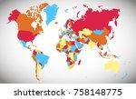 world map vector | Shutterstock .eps vector #758148775