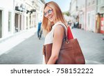 woman in shopping. happy woman... | Shutterstock . vector #758152222
