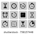 clocks icons set on grey time ...   Shutterstock . vector #758157448
