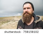 guy or bearded man at cold... | Shutterstock . vector #758158102