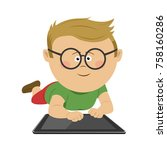 nerd little boy with glasses... | Shutterstock .eps vector #758160286