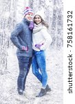 happy young couple  winter ... | Shutterstock . vector #758161732