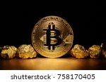 golden bitcoin coin and mound...   Shutterstock . vector #758170405
