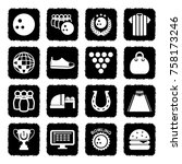 bowling icons. grunge black... | Shutterstock .eps vector #758173246