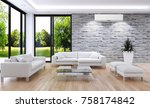 modern bright room with air... | Shutterstock . vector #758174842