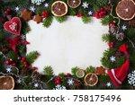 christmas background for... | Shutterstock . vector #758175496