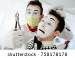the dentist mime shows the... | Shutterstock . vector #758178178