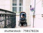 baby sitting in a pram  ...   Shutterstock . vector #758178226
