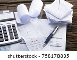 elevated view of calculator and ... | Shutterstock . vector #758178835