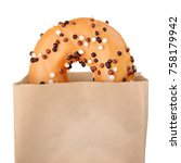 yellow icing donut in paper bag ... | Shutterstock . vector #758179942