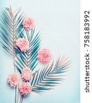 creative layout with tropical... | Shutterstock . vector #758183992