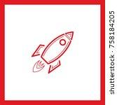 rocket line vector icon  | Shutterstock .eps vector #758184205