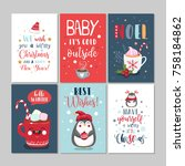 set of cute merry christmas and ... | Shutterstock .eps vector #758184862