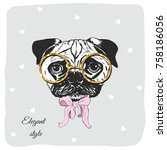 cute pug dog with golden... | Shutterstock .eps vector #758186056