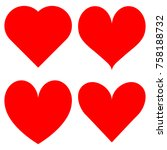 set of red hearts icons | Shutterstock .eps vector #758188732