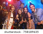 friends making big party in the ... | Shutterstock . vector #758189635