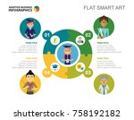 puzzle chart slide template | Shutterstock .eps vector #758192182