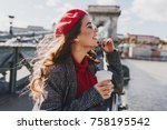 carefree caucasian woman in red ... | Shutterstock . vector #758195542