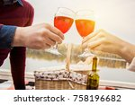 drinking wine together. closeup ... | Shutterstock . vector #758196682