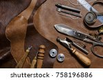 crafting tools on natural cow... | Shutterstock . vector #758196886