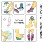 preventive foot care in diabetes | Shutterstock .eps vector #758199082