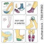 preventive foot care in diabetes | Shutterstock .eps vector #758199082