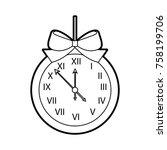 christmas clock frame bow... | Shutterstock .eps vector #758199706