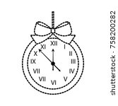 christmas clock frame bow... | Shutterstock .eps vector #758200282