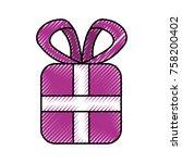 christmas gift box wrapped... | Shutterstock .eps vector #758200402