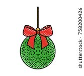 christmas ball with bow ribbon... | Shutterstock .eps vector #758200426