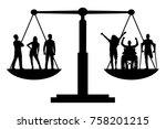 vector silhouette invalids... | Shutterstock .eps vector #758201215