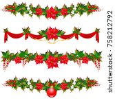 christmas wreath garland  balls ... | Shutterstock . vector #758212792