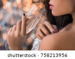 close up lips of attractive... | Shutterstock . vector #758213956