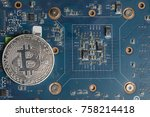 bitcoin coin lying on the... | Shutterstock . vector #758214418