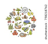 superfood vector concept.... | Shutterstock .eps vector #758218762