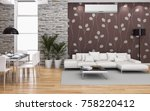 modern bright room with air... | Shutterstock . vector #758220412