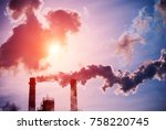 smoking chimneys of a coal... | Shutterstock . vector #758220745