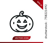 halloween pumpkin icon. holiday ... | Shutterstock .eps vector #758221492
