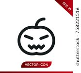 halloween pumpkin icon. holiday ... | Shutterstock .eps vector #758221516