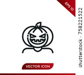 halloween pumpkin icon. holiday ... | Shutterstock .eps vector #758221522