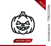 halloween pumpkin icon. holiday ... | Shutterstock .eps vector #758221546