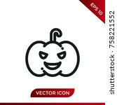halloween pumpkin icon. holiday ... | Shutterstock .eps vector #758221552