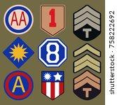 t shirt print design. army... | Shutterstock .eps vector #758222692