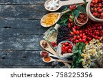 medicinal tablets and pills and ...   Shutterstock . vector #758225356