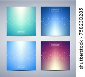 square covers template with dna ... | Shutterstock .eps vector #758230285
